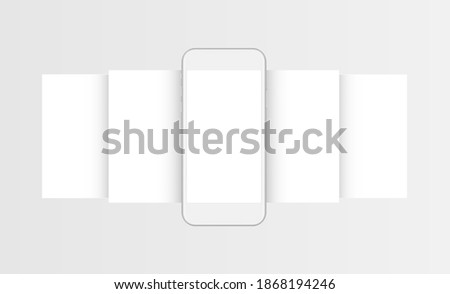 Clay Mobile Phone With Blank Wireframing Web Pages, Front View. Mockup for Responsive Web-Design or Showing Screenshots. Vector Illustration