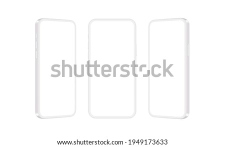 Clay Mobile Phones Mockups Isolated on White Background, Front and Side View. Vector Illustration