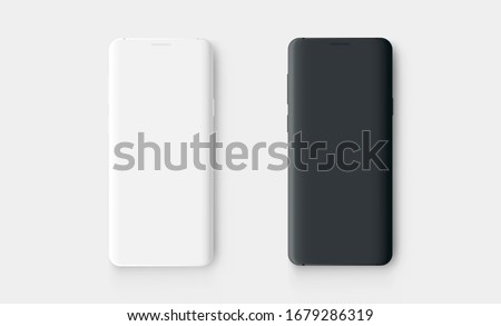 Clay mobile phones, white and black mockup isolated on white background. Vector illustration
