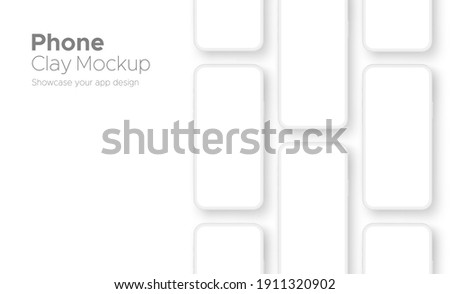 Clay Phones Screens Mockups for App Design, Isolated on White Background. Vector Illustration Сток-фото ©