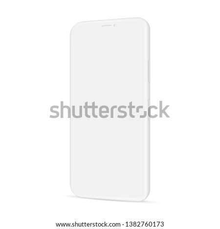 Clay smartphone mockup - side view. Vector illustration