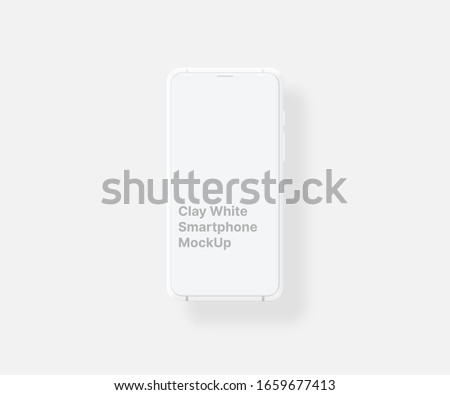 Clay smartphone white with blank screen isolated on white background. Mockup to showcasing mobile web-site ui ux design or screenshots your applications. Vector illustration