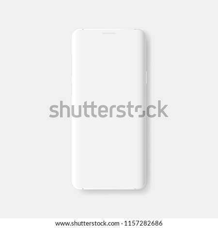 Clay smartphone with blank screen isolated on white background. Mockup to showcasing mobile web-site design or screenshots your applications. Vector illustration