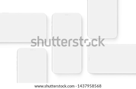 Clay wireframe mobile phones with blank screens. Mockup to showcasing mobile web-site design or screenshots apps. Vector illustration