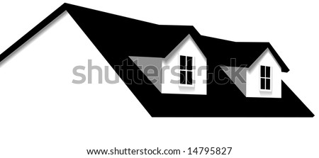 Clean abstract house design element. Roof with 2 dormer windows for sale, for real estate, construction, architecture, home repair designs.
