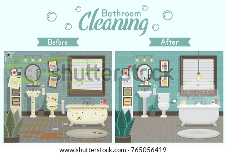 clean and dirty bathroom with...