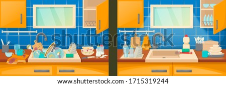Clean and dirty dishes and sink in the kitchen. Clean sink with kitchenware furniture and utensils. Washing dishes kitchen sink with dirt unwashed dish and accessories in the dining-dining room vector