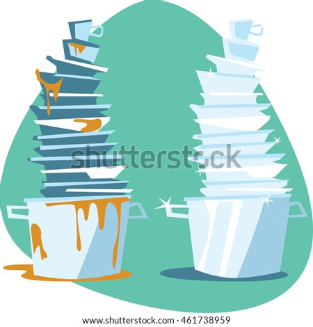 Shutterstock Clean and dirty stainless pot with dish, plate, bowl, dirt and leftovers. Isolated. On aquamarine background.
