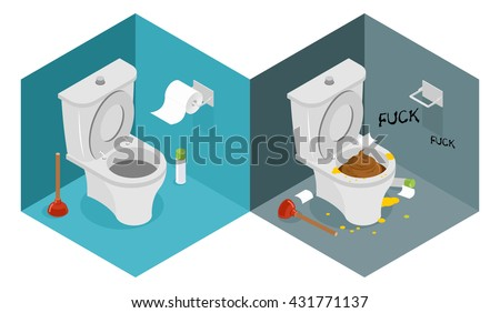 Clean and dirty toilet isometrics. interior of shithouse. New outhouse and plunger. Puddle of urine. Roll of bumf. WC furnishings of restroom
