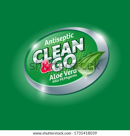 Clean and Go. Hands Antiseptic logo and label with Aloe Vera. Sanitizer, antiseptic and virus protection for hands and body. Glossy letters and leaf of Aloe Vera.