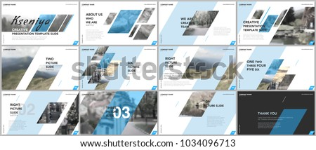 Clean and minimal presentation templates. Blue elements on a white background. Brochure cover vector design. Presentation slides for flyer, leaflet, brochure, report, marketing, advertising, business