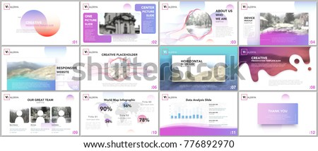 Clean and minimal presentation templates. Colorful elements on white background for your portfolio. Brochure cover vector design. Presentation slides for flyer, leaflet, brochure, report, advertising