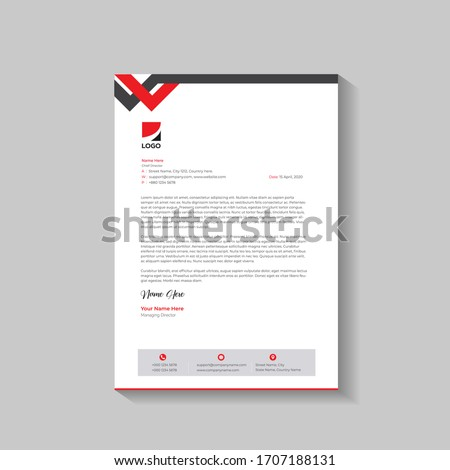Clean And Modern Corporate Business Letterhead Template Design. Letterhead design for your business, print ready, corporate identity letterhead template.