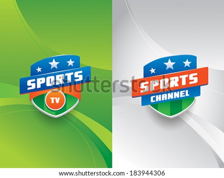 Clean and modern sports vector emblems with stripes and stars,  against a dynamic background with curves.