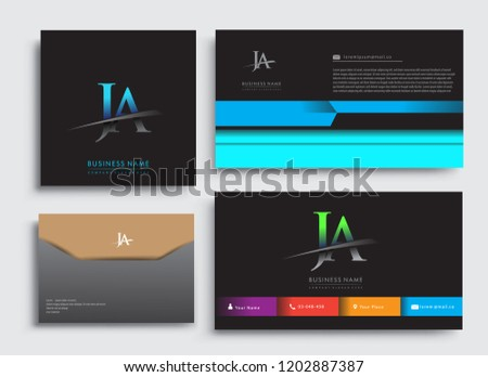 Clean and simple modern Business Card Template, with initial letter JA logotype company name colored blue and green swoosh design. Vector sets for business identity, Stationery Design.