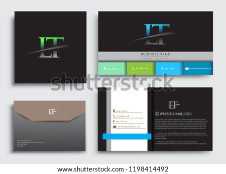 Clean and simple modern Business Card Template, with initial letter LT logotype company name colored blue and green swoosh design. Vector sets for business identity, Stationery Design. Photo stock ©