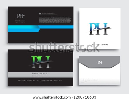 clean and simple modern business card template with initial letter ph logotype company name colored
