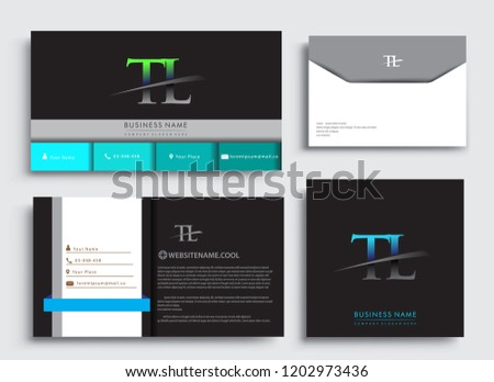Clean and simple modern Business Card Template, with initial letter TL logotype company name colored blue and green swoosh design. Vector sets for business identity, Stationery Design. Photo stock ©