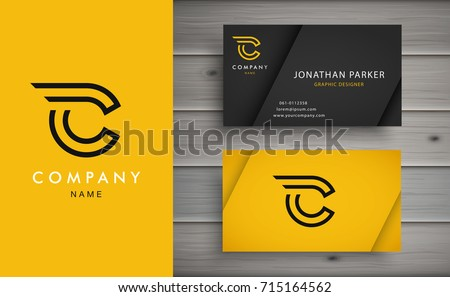 Clean and stylish logo forming the letter C with business card templates.