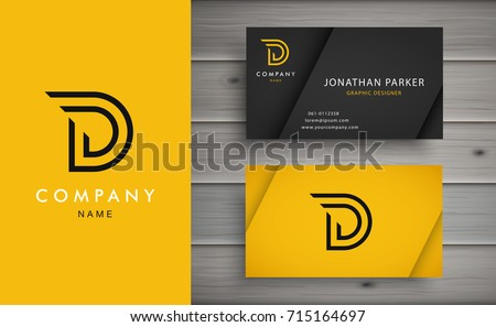 Clean and stylish logo forming the letter D with business card templates.