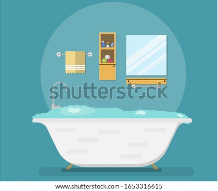 Clean bathroom with furniture in a modern flat style. Flat vector illustration. Vector illustration
