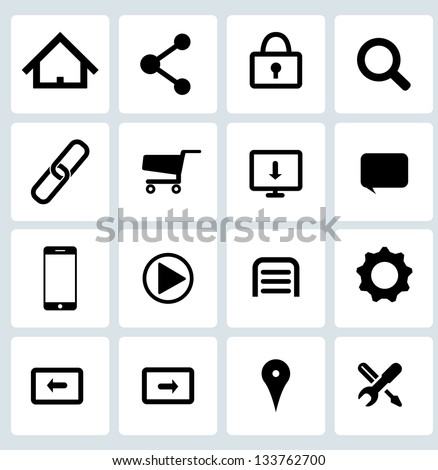 Clean Black Web icons set