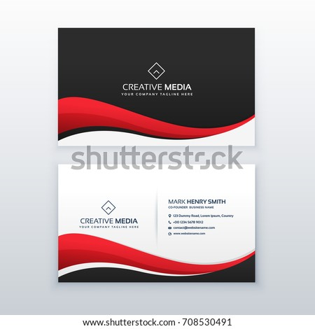 clean business card design with red wave