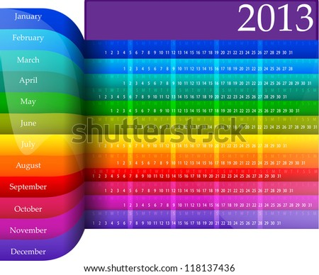 Clean 2013 business wall calendar - stock vector
