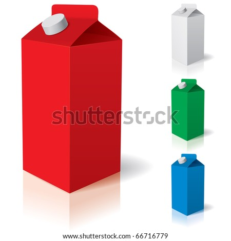 Clean carton. Vector illustration of box or carton of milk.