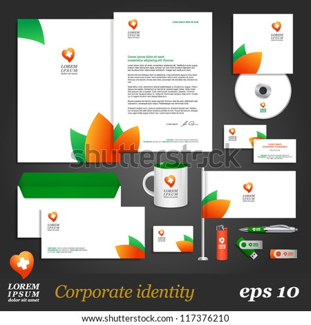 Clean corporate identity template with leaf elements. Vector company style for brandbook and guideline. EPS 10