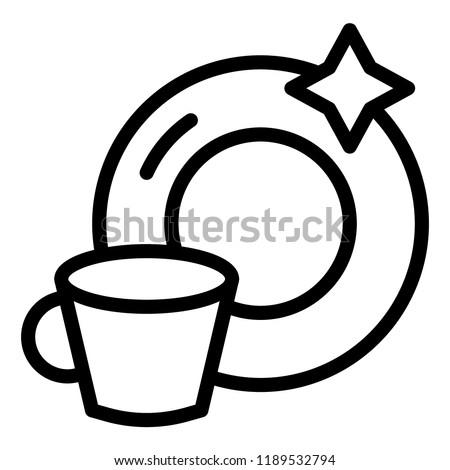 Clean cup and a plate line icon. Washed mug and dish vector illustration isolated on white. Dishware outline style design, designed for web and app. Eps 10