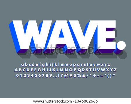 clean 3d white and blue bold font or typeface, with strong character effect, modern alphabet for headline project design.