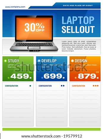 Clean design of laptop sale flyer