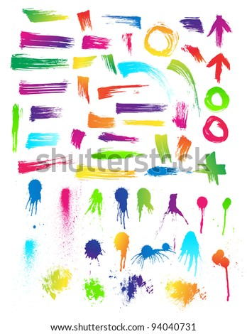 Clean Detailed Set of 55 Brush Strokes & Paint Drips