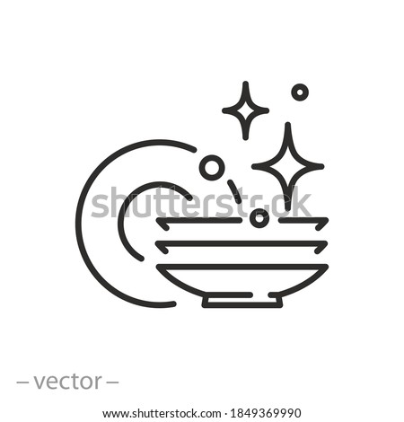 clean dishes icon, shiny plate stack, wash kitchen utensil, pile tableware, thin line symbol on white background - editable stroke vector illustration eps 10 Stockfoto ©