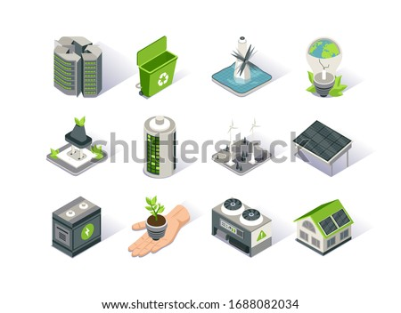 Clean energy isometric icon set. Ecology environment and electricity generation. Alternative sources, wind and solar energy production, tidal power station. Renewable energy sources 3d vector isometry