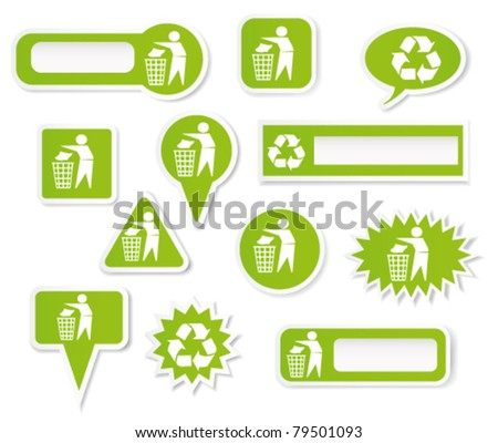 Clean environment stickers. Vector