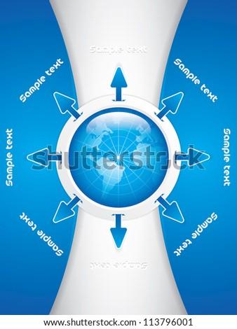 Clean futuristic vector design template with earth globe.Brochure