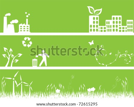 Clean green environment and city - stock vector