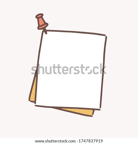 Clean hand drawn paper sheet attached with drawing pin vector flat illustration. Reminder blank pinned at wall ready to write memo, notes, announcement or message isolated on white background