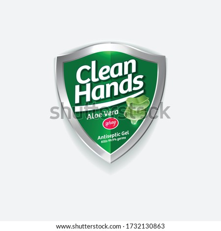 Clean Hands logo. Hand disinfectant, virus protection label. Sanitizer for hands and body. Green glossy shield with logotype and cut leaves aloe vera.