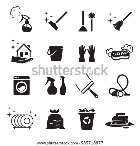 Clean icons set. Black on a white background