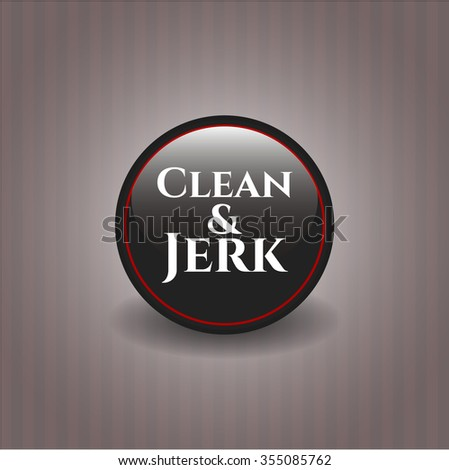 Clean & Jerk black shiny badge