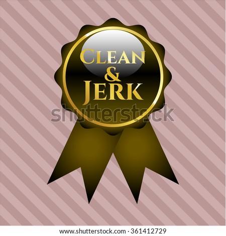 Clean & Jerk gold shiny badge