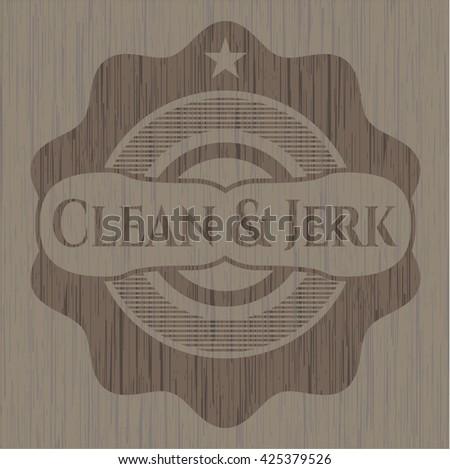 Clean & Jerk realistic wood emblem