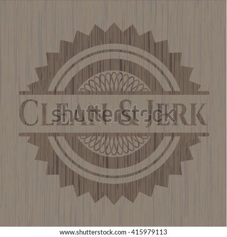 Clean & Jerk retro style wood emblem