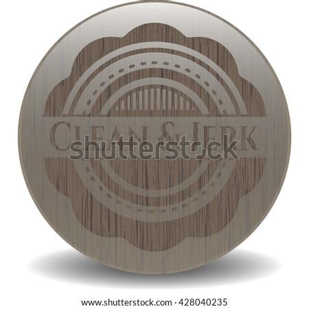 Clean & Jerk retro style wooden emblem