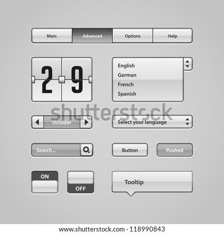 Clean Light User Interface Controls 4. Web Elements. Website, Software UI: Buttons, Switchers, Arrows, Drop-down, Navigation Bar, Menu, Tooltip, Date, Calendar, Search
