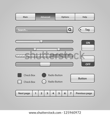Clean Light User Interface Controls 7. Web Elements. Website, Software UI: Buttons, Switchers, Pagination, Navigation Bar, Menu, Search, Levels, Progress, Scroller, Check Box, Radio Button, Tag