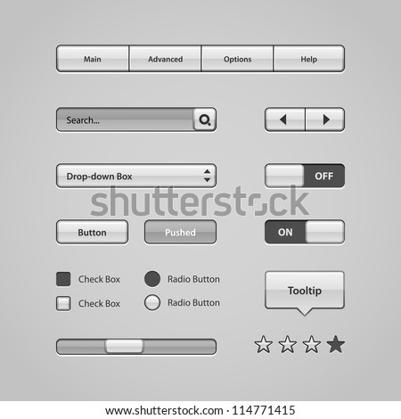 Clean Light User Interface Controls. Web Elements. Website, Software UI: Buttons, Switchers, Slider, Arrows, Drop-down, Navigation Bar, Menu, Tooltip, Check Box, Radio, Scroller, Input Search